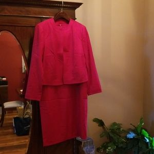 Talbots red wool dress and jacket